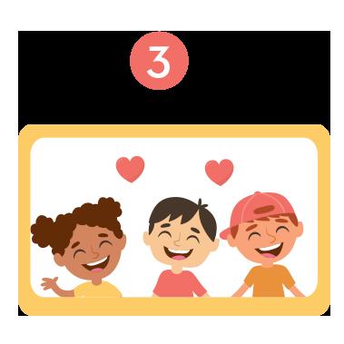 Ilustração de quatro crianças sorridentes de mãos dadas.